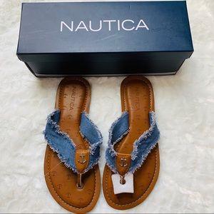 Nautica Causal Sandals Frayed Denim